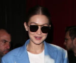 Gigi Hadid Wore a Jacket That Looked Like the Sky at Paris Fashion Week
