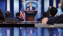 An aggrieved Trump blames press for furor over disinfectant comments