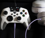 Turtle Beach Recon Controller in white with white headset plugged into it